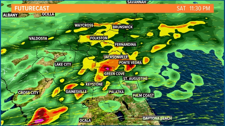 Strong downpours and loud rumbles through midnight