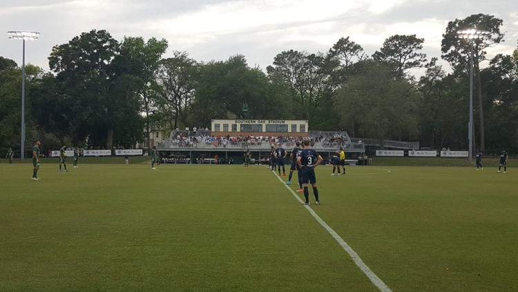 Kickoff of the Armada FC's play-in game in the U.S. Open Cup at Southern Oak Stadium.  PHOTO: Neal Bennett/First Coast News