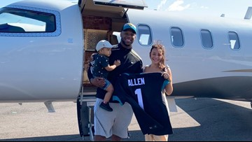 Jaguars Josh Allen arrives in Jacksonville after being seventh overall pick in NFL Draft