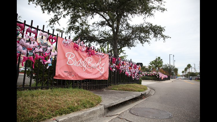 Why are several hundred bras hanging on the fence outside of First Coast News?