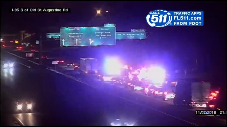 JFRD: 10-vehicle accident on I-95 NB just south of Old St  Aug  Rd