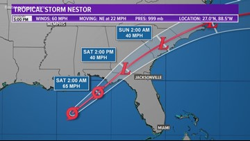 5 p.m. update for Tropical Storm Nestor; expected to bring heavy rains to First Coast on Saturday