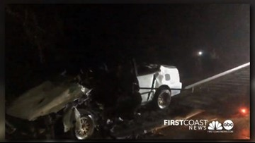 JFRD: Patient hospitalized after vehicle strikes light pole in Southside