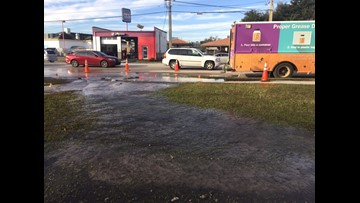 Water main break closes parts of Old St. Augustine Road