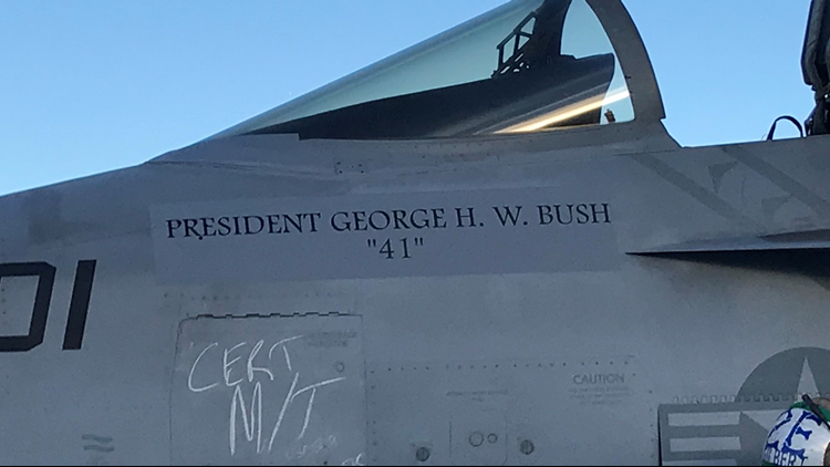 Navy performs 21-aircraft missing man flyover to honor President Bush
