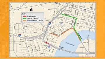 Detour planned this weekend for Interstate 95 North at Fuller Warren Bridge