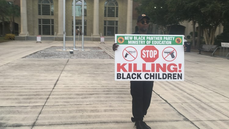 Black Panther outside Tony Green trial