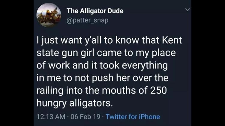 Alligator Dude tweet (Alligator Farm)