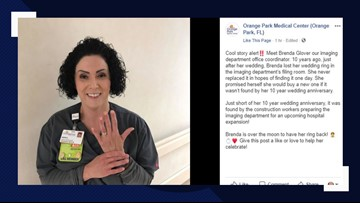 Jacksonville nurse finds wedding ring after losing it at hospital 10 years ago