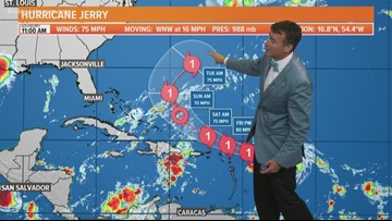 TROPICS: Tropical Storm Jerry strengthens to hurricane; still nearly 2,000 miles away from the First Coast