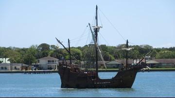 Nao Santa Maria replica docks in St. Augustine