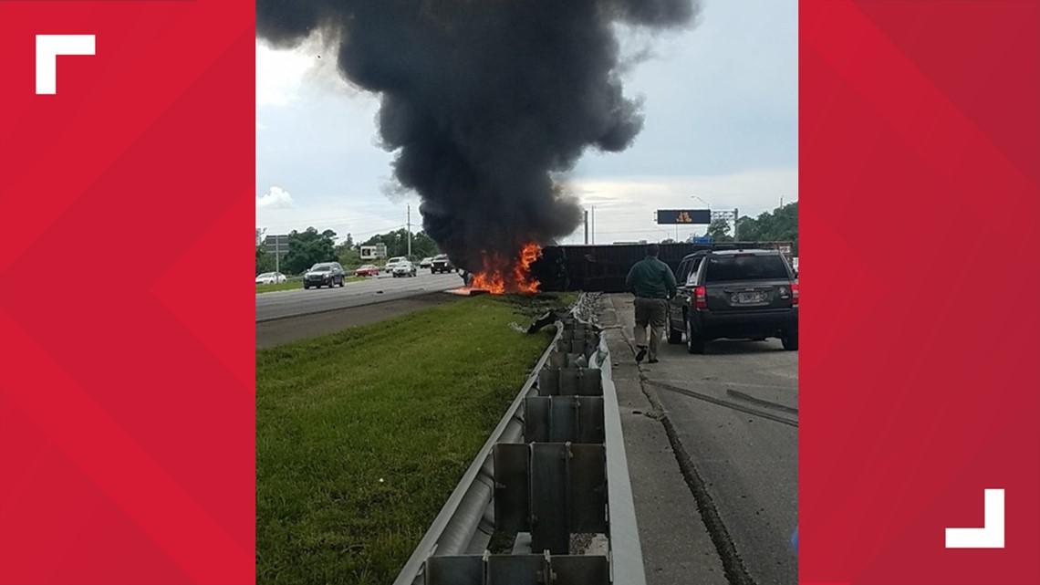 Fiery crash involving overturned vehicle blocks traffic on I
