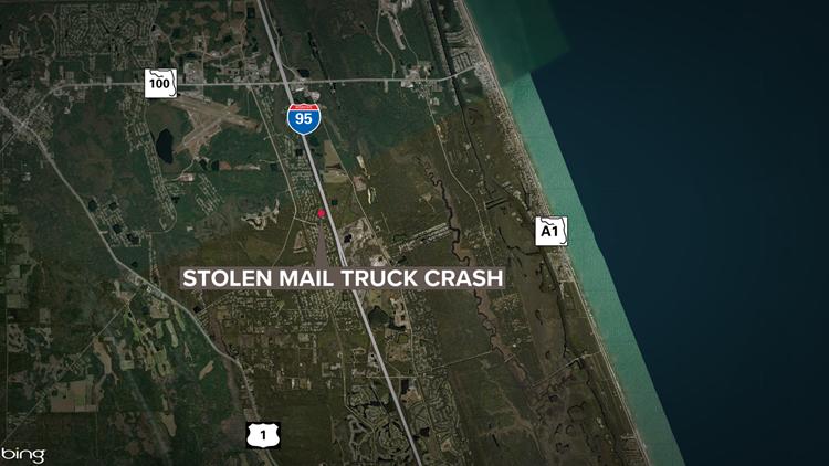 stolen mail truck crash