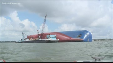 Golden Ray cargo ship sitting in St. Simons Sound to be disassembled for removal