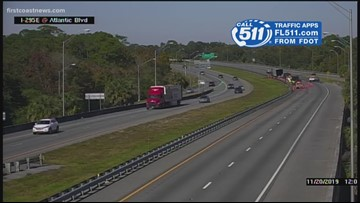 Multiple lanes of I-295 closed at Atlantic Boulevard due to semi-truck fire