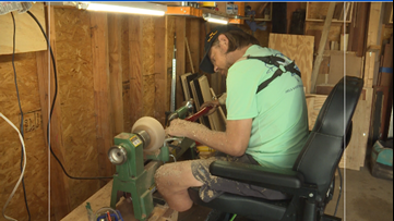 Jacksonville triple amputee in need of kidney hopes to inspire others through his craftsmanship
