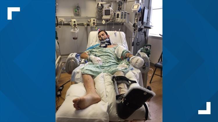 Joshua Davis in the hospital after crash