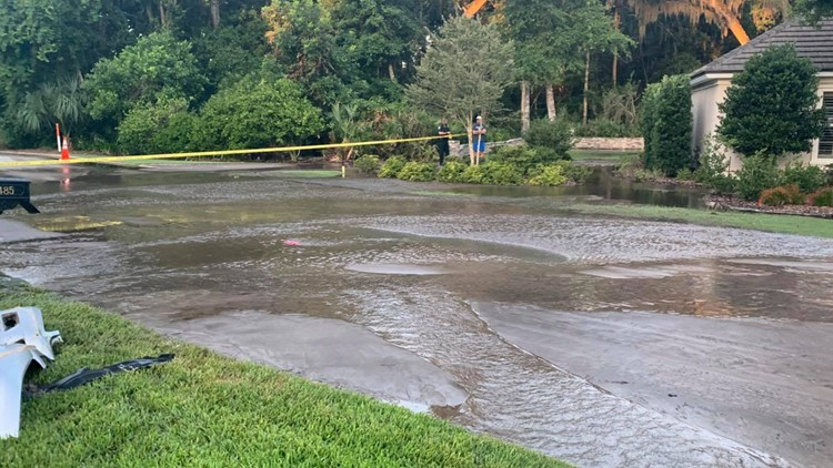 Road flooded, sinkhole opens after vehicle hits fire hydrant in St. Augustine