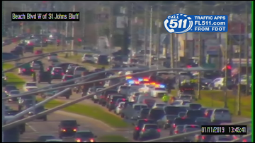 Traffic moving slow on westbound Beach Blvd. near St. Johns Bluff Road