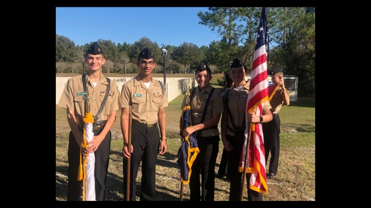 Navy JUNIOR ROTC from Nease High presenting colors at groundbreaking