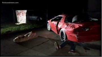 Smashed car, mannequins send stern warning in time for Halloween