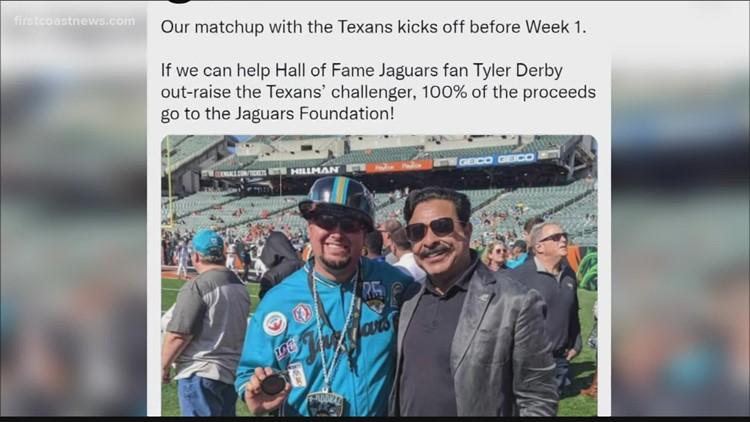 Help Jaguars' fan Tyler Derby beat Texans fans in HOF Charity Challenge