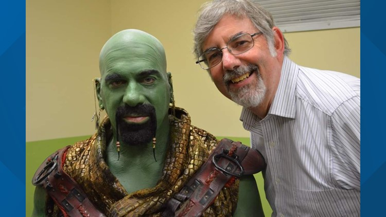 Lou Ferrigno as an Orion slave dealer make up in between shoots during the Star Trek Continues episode named Lolani