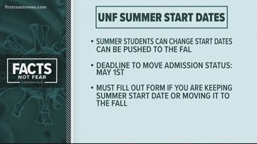UNF gives students expected to start classes in summer option to start in fall due to COVID-19