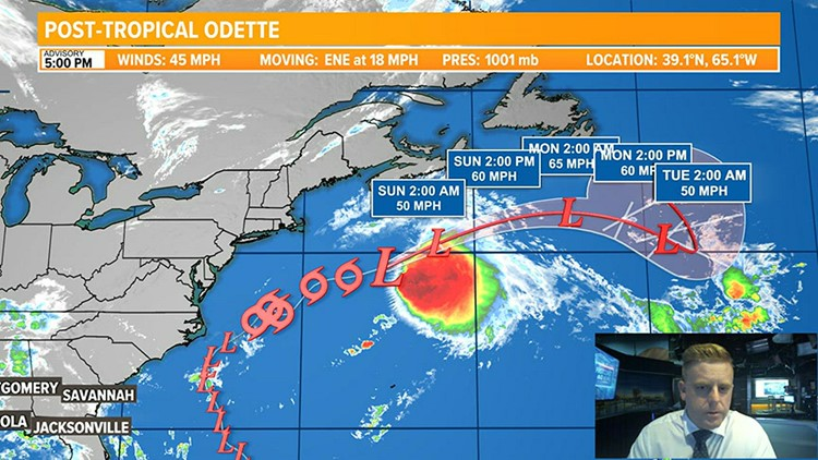Odette Weakens to Post-Tropical while we watch several other areas in the Atlantic.