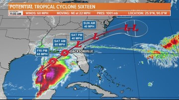 Potential Tropical Cyclone Nestor grows in strength, expected to bring heavy rain to the First Coast on Saturday
