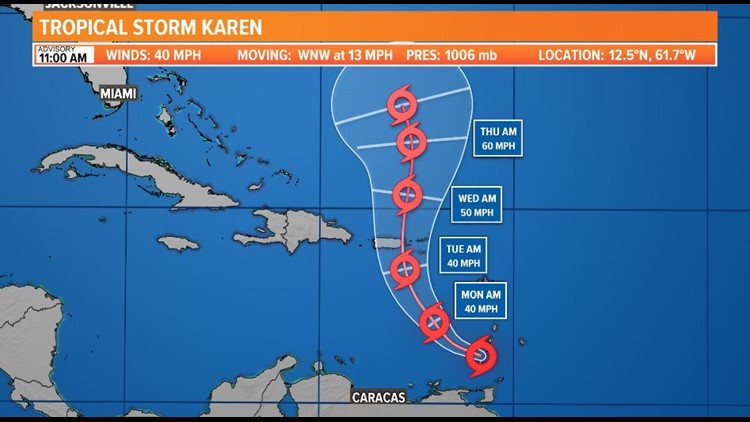 TROPICS: Karen moving into the Caribbean, Jerry soon to make the turn