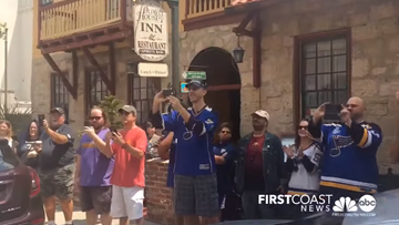 'Let's go, Blues!' Hundreds turn out to see hockey's biggest prize as Stanley Cup makes stop in St. Augustine