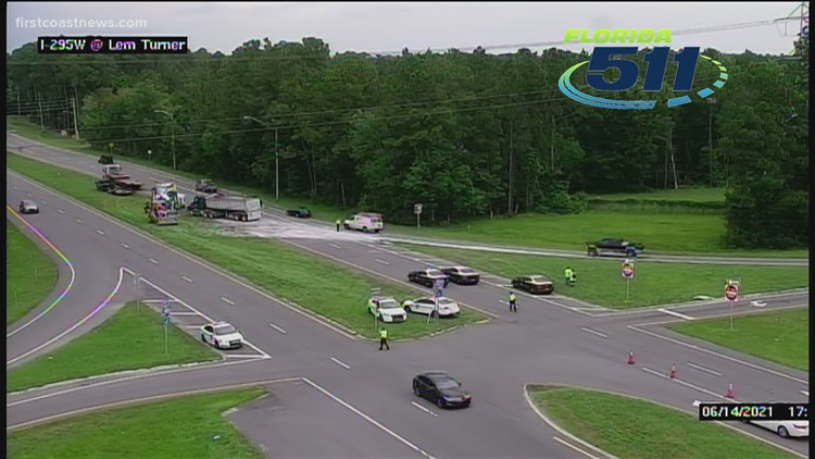 Part of Lem Turn Rd. at I-295 closed due to overturned semi-truck