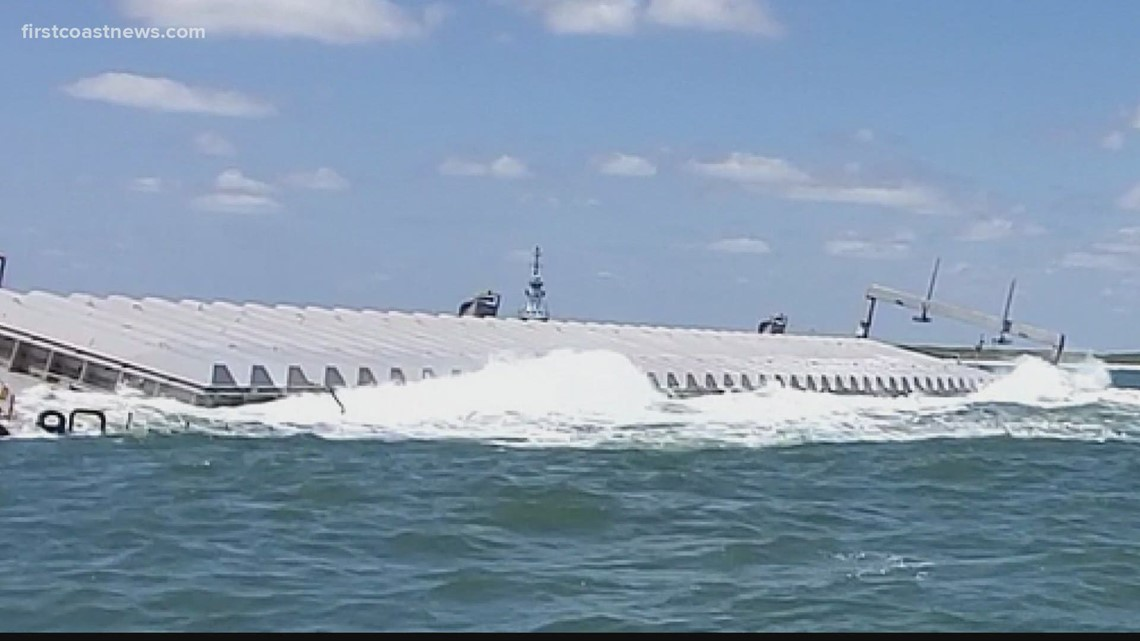 Beached barge loaded with hazardous waste