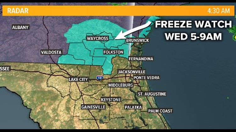 First Coast Forecast: Showers return for drive home and winter wind chills by Wednesday morning