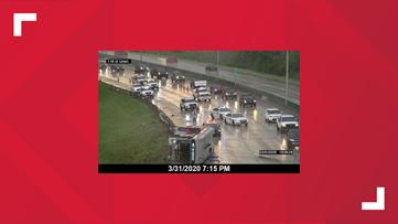 JTA bus flips in heavy downpour on I-10 at Lennox Avenue