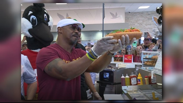 WATCH: Brian Dawkins teams up with Jacksonville area Wawas to make limited edition 'Dawk' hoagie, donate money to police athletic league