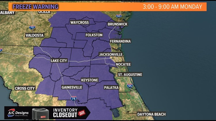 WEATHER: Freeze Warning for portions of the First Coast on Monday morning