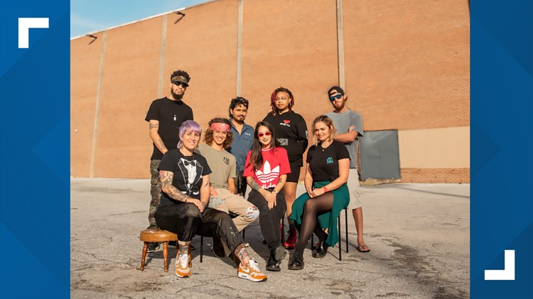 The 8 artists involved in #thewallatcollegepark mural project.