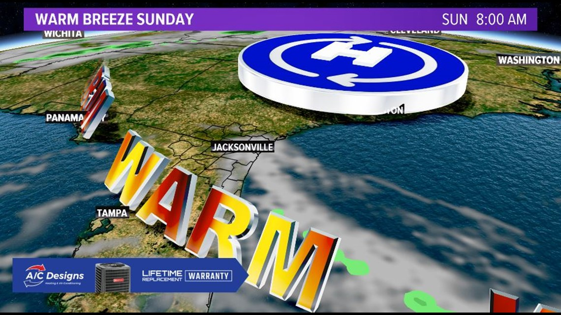 Warmer Sunday; Nor'easter develops midweek
