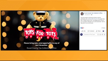 Toys for Tots donations collected at First Coast Tax Collector offices