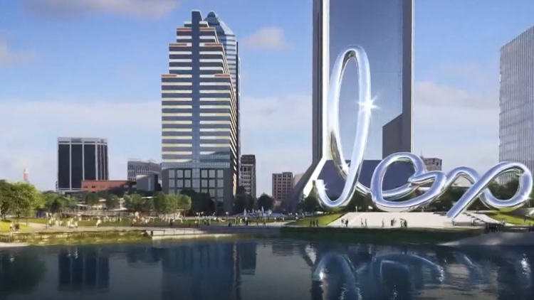Who is the artist behind the stainless steel structure planned for Riverfront Plaza?