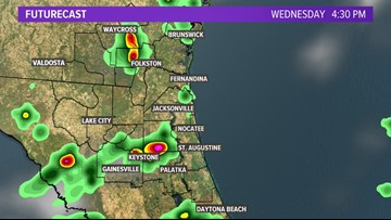 Isolated slow moving storms forming amidst the near record heat