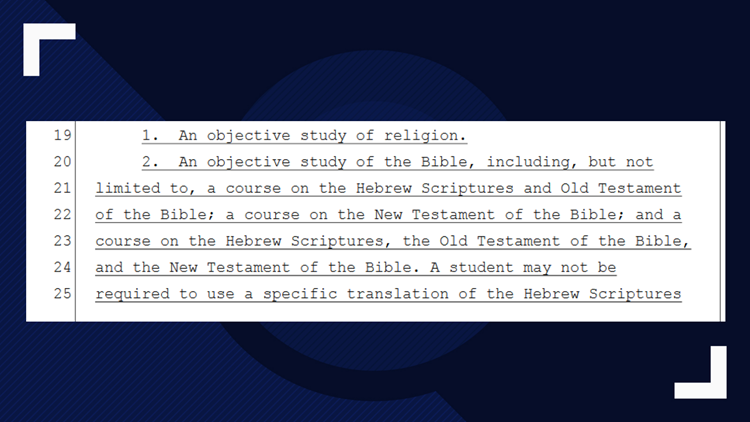 How House Bill 195 words the mandate for Bible courses