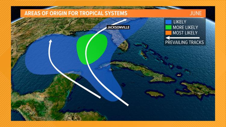 Where to expect tropical systems to form month by month