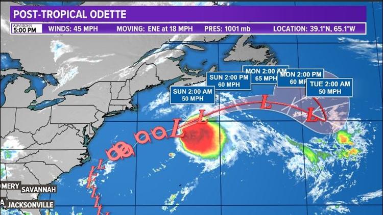 TROPICS: Odette weakens to Post-Tropical south of Nova Scotia
