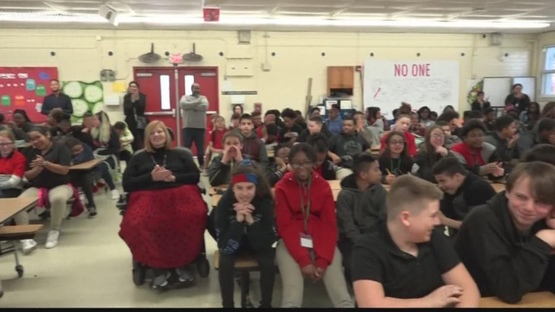 A big surprise! J.E.B. Stuart Middle School student thanks his mom ...
