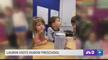 Meteorologist Lauren Rautenkranz visits DuBow Preschool