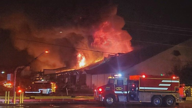 Warehouse full of wood pellets in Brunswick catches fire for 2nd time since 2015