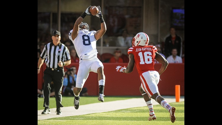 LINCOLN, NE - NOVEMBER 10: Wide receiver Allen Robinson #8 of the Penn State Nittany Lions catches a long 3rd down reception over cornerback Stanley Jean-Baptiste #16 of the Nebraska Cornhuskers during their game at Memorial Stadium on November 10, 2012 in Lincoln, Nebraska. (Photo by Eric Francis/Getty Images)
